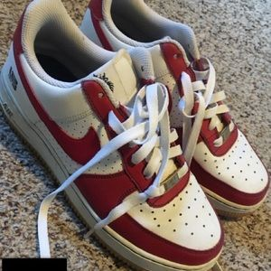 Red and white Nike's